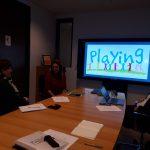 Elida Kalpogianni presenting PLAYING NGO