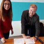 Signing the memorandum of cooperation with Hjörtur Ágústsson